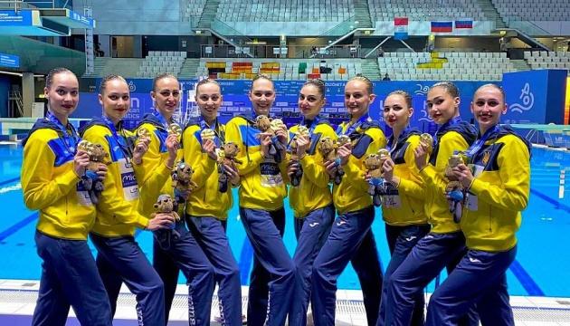 Украинская команда по синхронному плаванию стала чемпионом Европы в произвольной программе