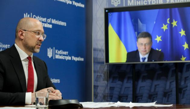 Schmyhal erörtert mit Dombrovskis wirtschaftliche Zusammenarbeit der Ukraine mit der EU