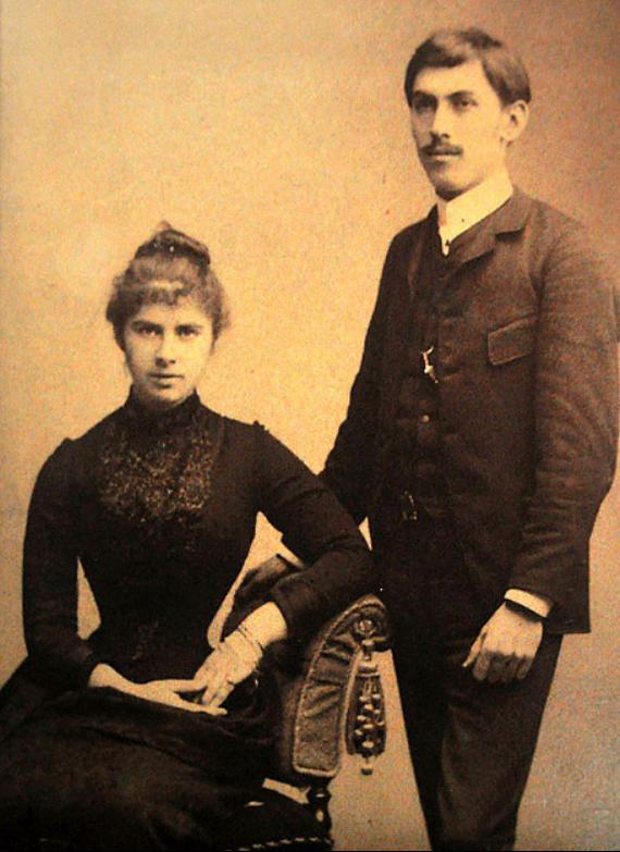 Старша дочка Лiдiя Драгоманова-Шишманова із чоловіком болгарським вченим Іваном Шишмановим