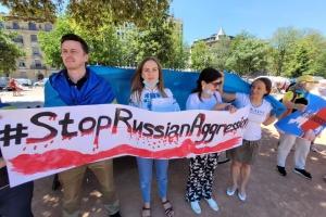 Українці та грузини Швейцарії провели у Женеві мітинг проти агресії РФ