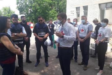 Ann Linde visits frontline town of Krasnohorivka in Donetsk region