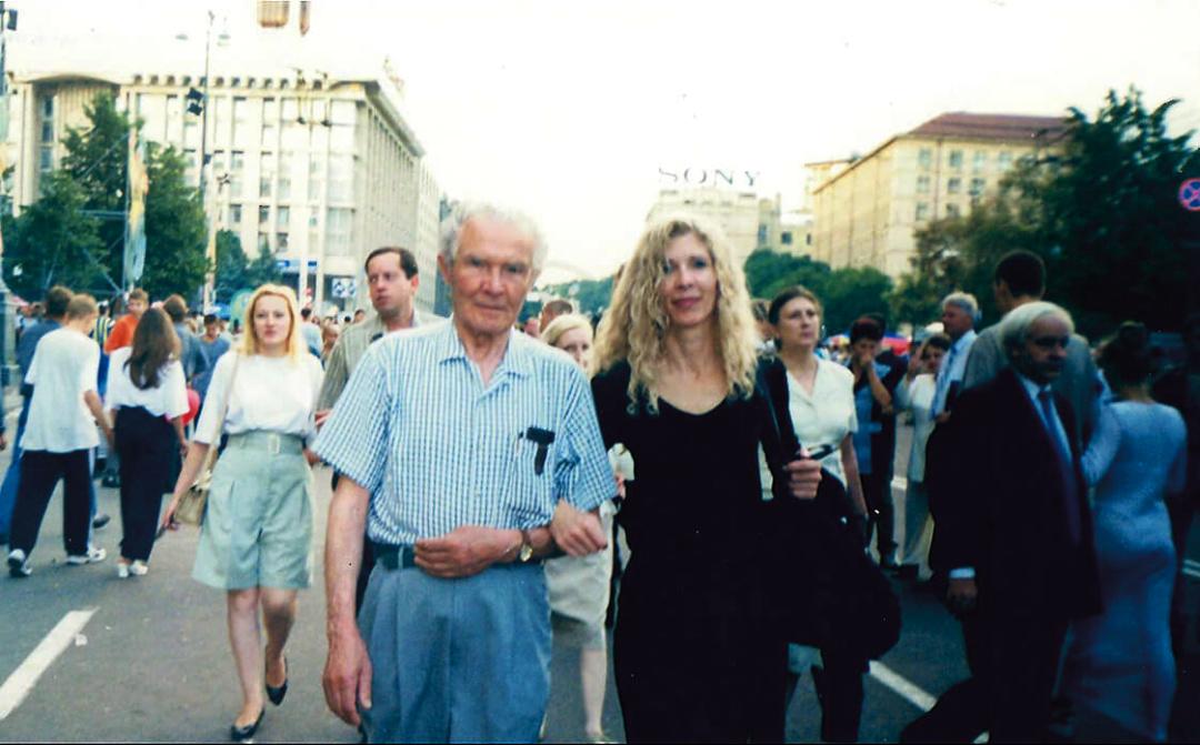 Петро Яцик з дочкою Надією на Хрещатику