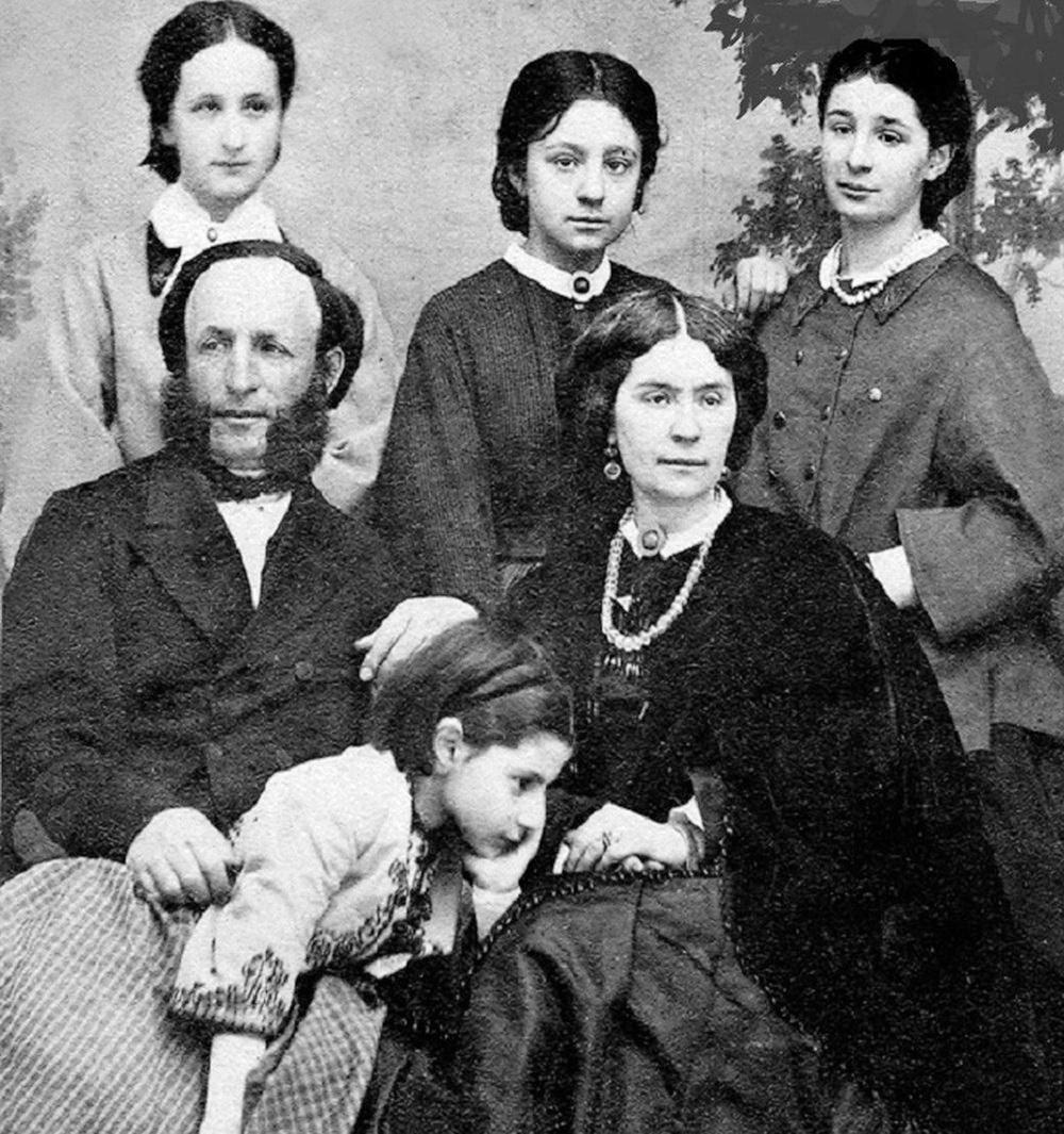 Іван Айвазовський, його дружина Юлія Гревс і їх дочки, зліва направо - Олександра, Марія, Олена, Жанна 1849 р.