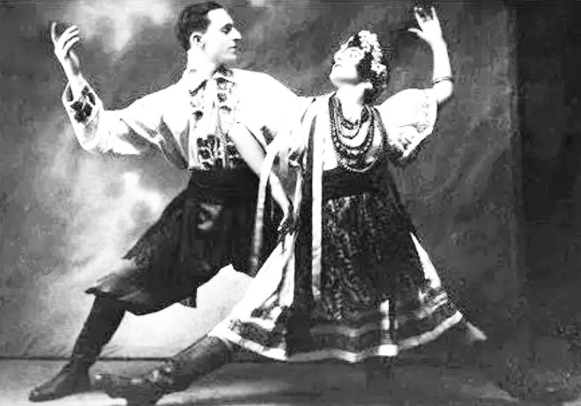 украінцскій танець, виконують Петро Лещенко і перша дружина Жені Закітт, 1936 р.