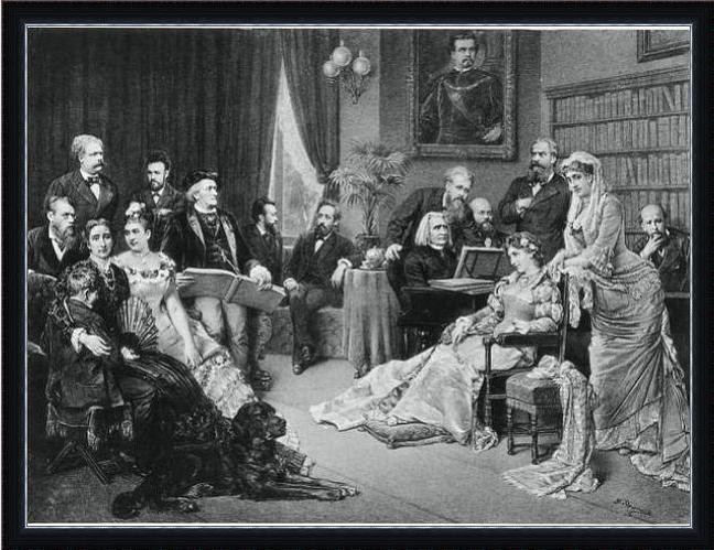 Семья Вагнеров на первом фестивале в Байройте. Козима рукой обнимает Зигфрида (на рисунке слева на переднем плане), Вагнер на заднем плане справа от нее. Ференц Лист за роялем
