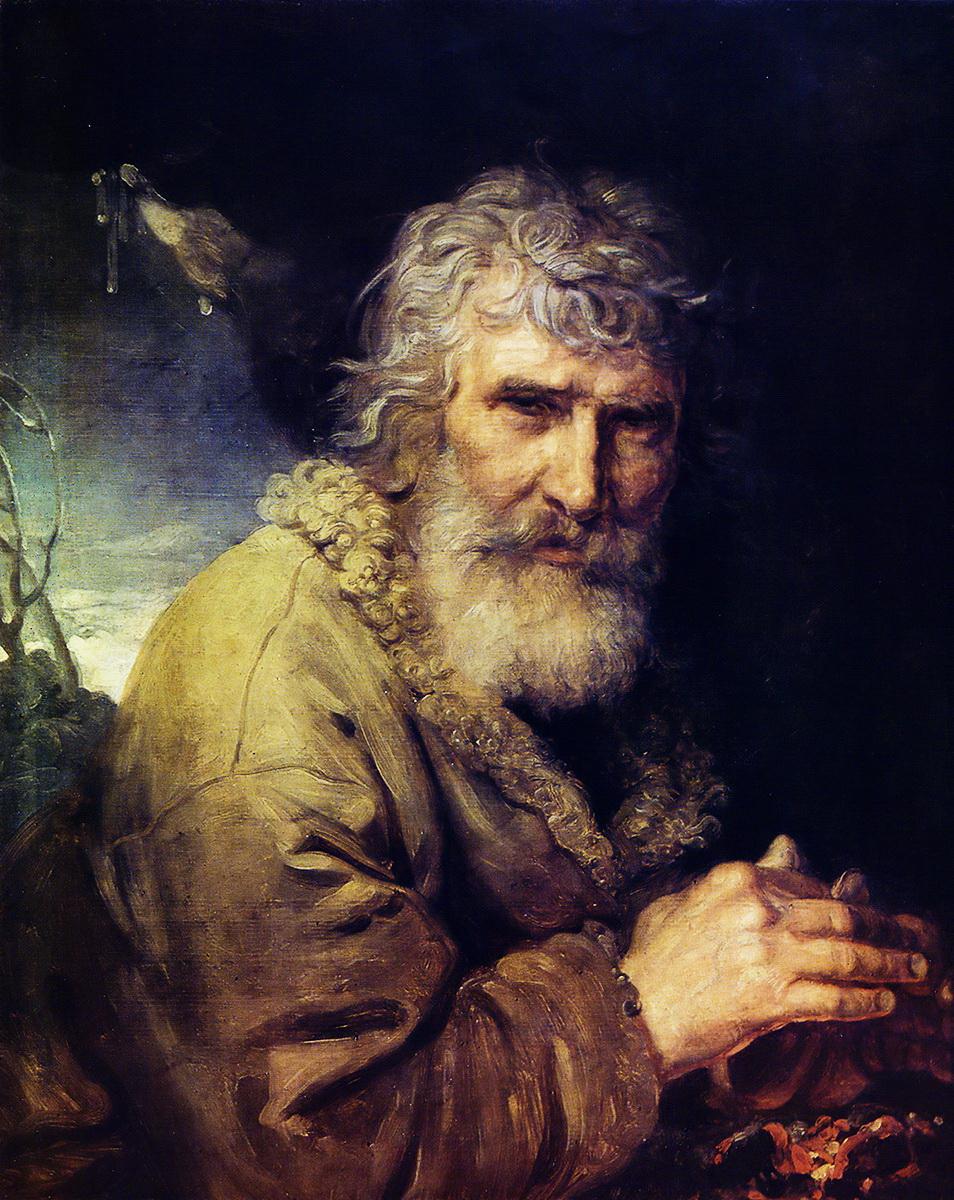 28-Алегорія зими у вигляді старого, що гріє руки біля вогню, початок 1800-х рр.