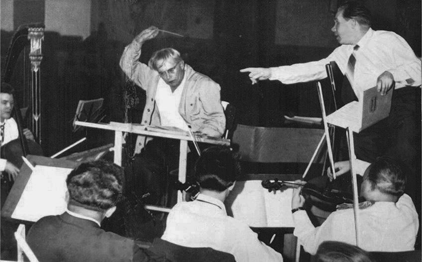 на репетиції у студії звукозапису, Прага, 1955 р.