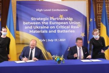 Maroš Šefčovič et Denys Chmyhal ont signé un protocole de partenariat sur les matières premières entre l'UE et l'Ukraine
