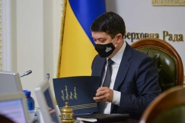 Krim-Plattform: Parlamentschef Dmytro Rasumkow beruft Sondersitzung der Werchowna Rada am 23. August ein