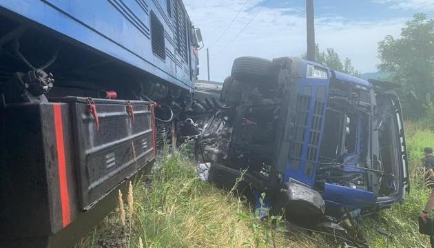 Three injured as train collides with truck in Zakarpattia region