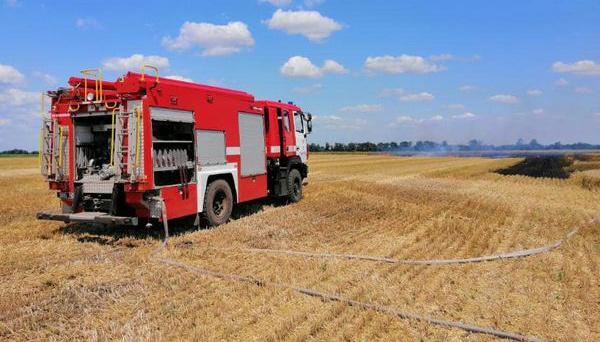 В Николаевской области горело пшеничное поле