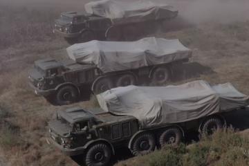 Near de-facto border with occupied Crimea, Ukraine conducts jet artillery drill