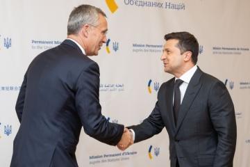 Ukrainian president, NATO secretary general meet in New York