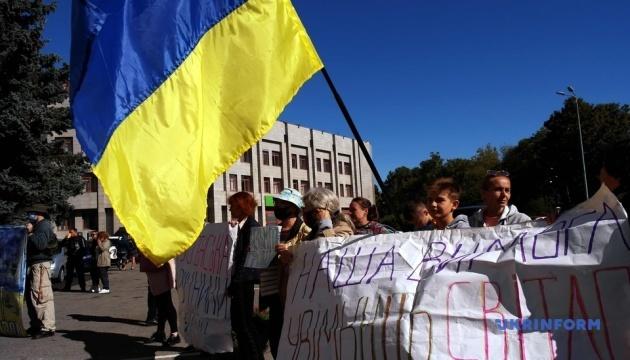 В Одесі переселенці протестували проти відключення будинку від електрики та води