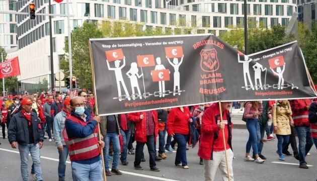 В Брюсселе на многотысячной акции требовали повышения зарплаты