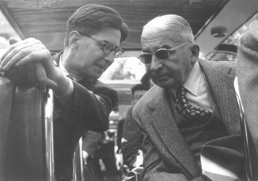 Людвіг фон Мізес та Карл Антоні на засіданні Товариства Монт Пелерин,1950 р.