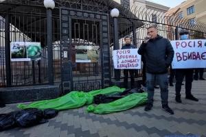 Protestaktion vor russischer Botschaft in Kyjiw: Aktivisten fordern Öffnung Übergangspunkte in der Ostukraine